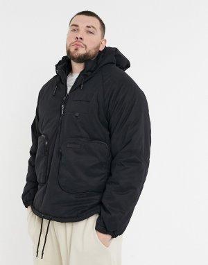 Черная утепленная куртка карго с карманами -Черный Sixth June
