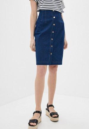 Юбка джинсовая Kira Plastinina. Цвет: синий