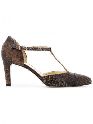 Туфли-лодочки с эффектом змеиной кожи Antonio Barbato. Цвет: коричневый