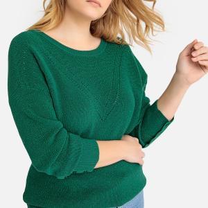 Пуловер с круглым вырезом 84% хлопка, из плотного трикотажа CASTALUNA. Цвет: темно-зеленый,черный