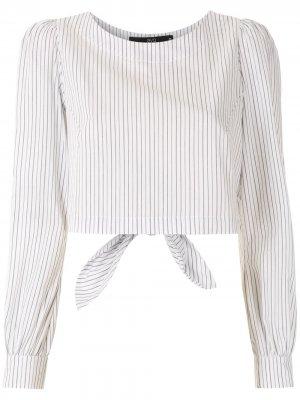 Полосатая блузка с пышными рукавами Eva. Цвет: белый