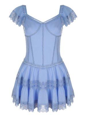 Платье-туника с шитьем Charo Ruiz. Цвет: голубой