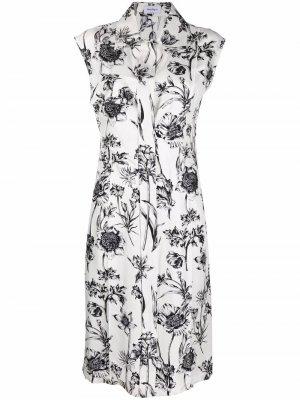Шелковое платье с цветочным принтом Salvatore Ferragamo. Цвет: белый