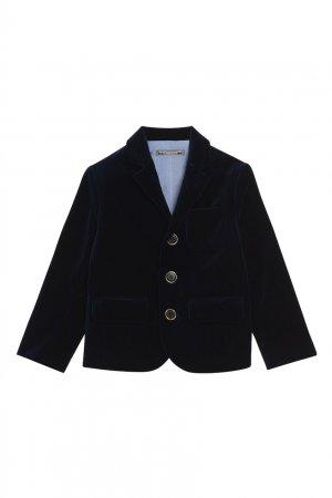 Черный бархатный пиджак Bonpoint. Цвет: синий