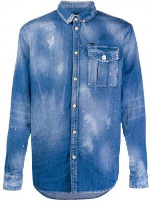Джинсовая рубашка на пуговицах Dsquared2. Цвет: синий