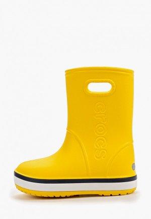Резиновые сапоги Crocs Crocband Rain Boot K. Цвет: желтый