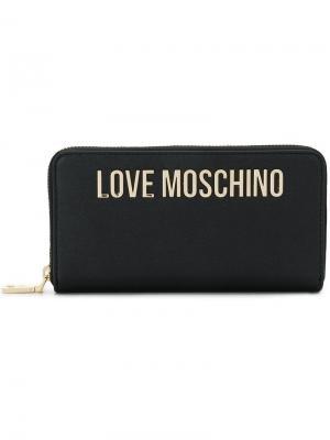 Кошелек с бляшкой логотипом Love Moschino. Цвет: черный
