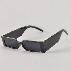 Мужские солнцезащитные очки в квадратной оправе SHEIN. Цвет: чёрный