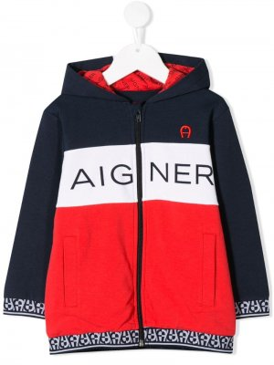 Куртка в стиле колор-блок Aigner Kids. Цвет: синий