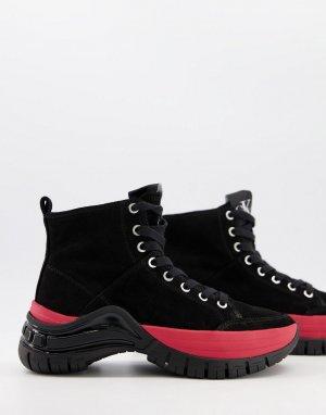 Черные высокие кроссовки на массивной подошве Jeans Timotha-Черный цвет Calvin Klein