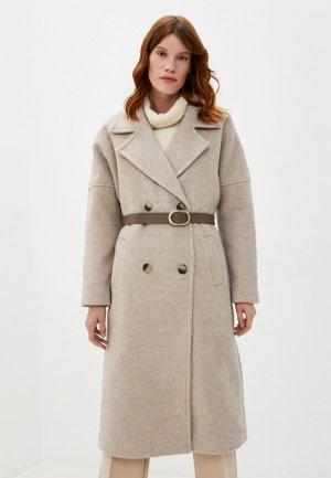 Пальто Снежная Королева. Цвет: бежевый