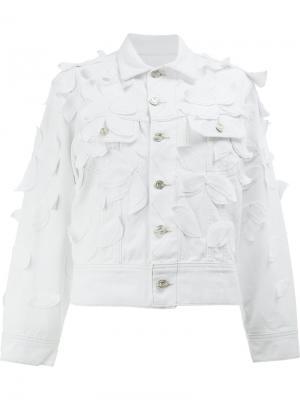 Джинсовая куртка с аппликацией листьев Oscar de la Renta. Цвет: белый