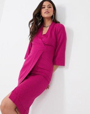 Розовое платье с запахом и вставками Closet-Розовый Closet London