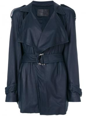 Кожаная куртка с ремнем Drome. Цвет: синий