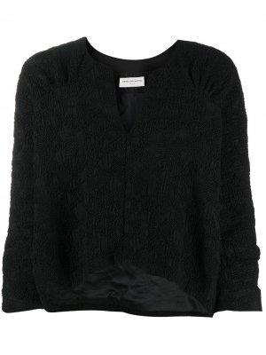 Укороченная блузка 2000-х годов с вышивкой Dries Van Noten Pre-Owned. Цвет: черный