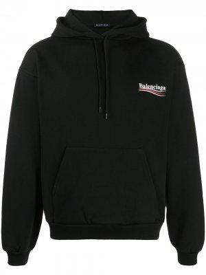 Худи с логотипом Balenciaga. Цвет: черный