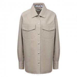 Хлопковая рубашка Off-White. Цвет: серый