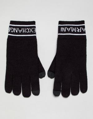Темно-синие перчатки Armani Exchange. Цвет: темно-синий