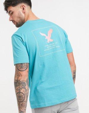 Синяя футболка с логотипом -Голубой American Eagle