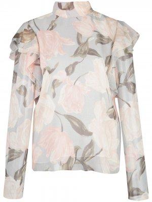 Блузка с цветочным принтом и оборками Jason Wu Collection. Цвет: серый