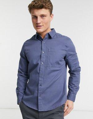 Синяя саржевая рубашка с длинными рукавами -Голубой New Look