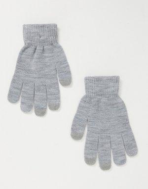 Серые меланжевые перчатки для сенсорных экранов -Серый SVNX