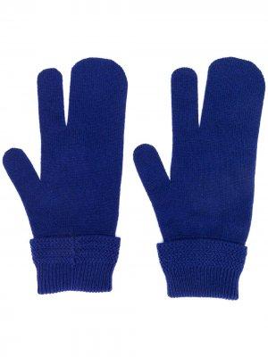 Перчатки-варежки Maison Margiela. Цвет: синий