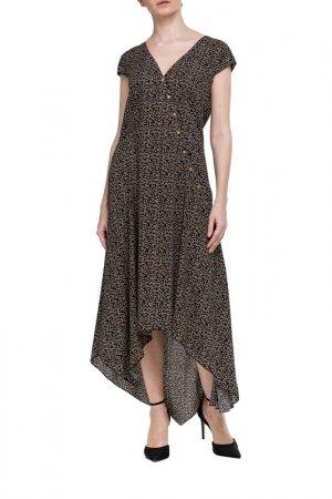 Платье Adzhedo. Цвет: черный, бежевые цветочки