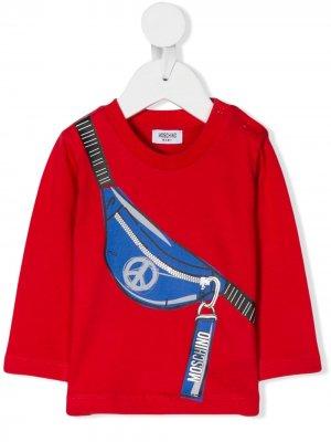 Топ с принтом поясной сумки со знаком peace Moschino Kids. Цвет: красный