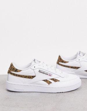 Кроссовки с замшевыми леопардовыми вставками Club C-Белый Reebok