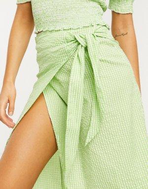 Зеленая юбка миди в клетку с запахом -Зеленый Monki