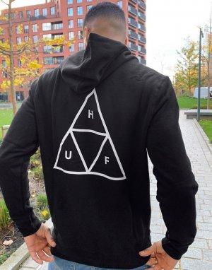 Худи черного цвета с треугольным логотипом Essentials Triple Triangle-Черный HUF
