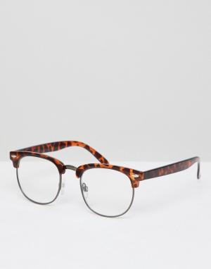 Очки в стиле ретро с черепаховой оправой и прозрачными стеклами -Коричневый AJ Morgan