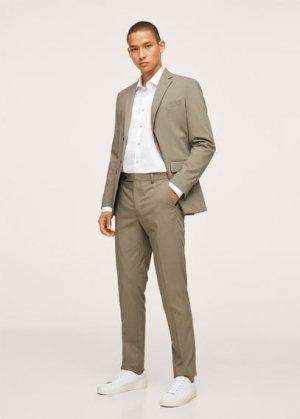 Костюмная рубашка slim fit из хлопка - Breda Mango. Цвет: белый