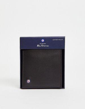 Коричневый кожаный бумажник двойного сложения -Коричневый цвет Ben Sherman