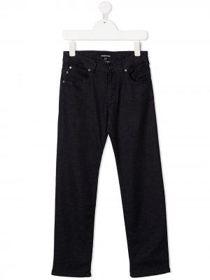 Прямые джинсы средней посадки Young Versace. Цвет: черный