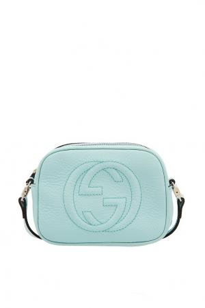 Голубая сумка с логотипом Gucci Kids. Цвет: multicolor