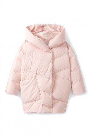 Светло-розовый удлиненный пуховик Pearl Bonpoint. Цвет: розовый