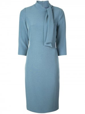 Приталенное платье миди с завязками Badgley Mischka. Цвет: синий