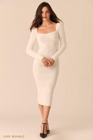 Белое облегающее платье миди с фигурным вырезом каре LOVE REPUBLIC