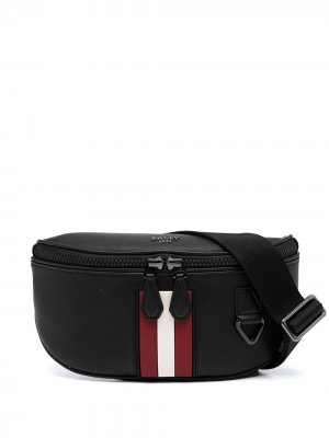 Поясная сумка с контрастными полосками и логотипом Bally. Цвет: черный