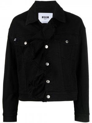 Джинсовая куртка с оборками MSGM. Цвет: черный