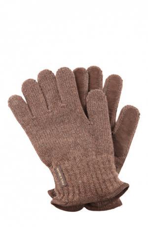 Перчатки вязаные Paul&Shark. Цвет: коричневый