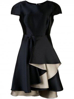 Платье асимметричного кроя с оборками Halston Heritage. Цвет: синий