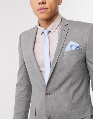 Бледно-голубой атласный галстук и платок для нагрудного кармана -Синий ASOS DESIGN