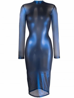 Платье миди Blue Angel из тюля Maison Close. Цвет: синий