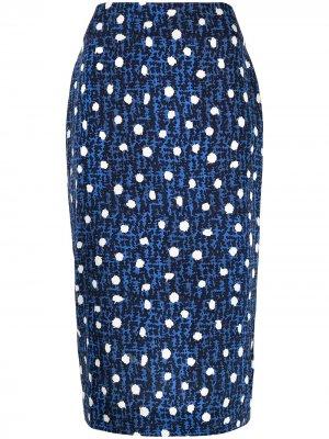 Юбка миди с геометричным принтом DVF Diane von Furstenberg. Цвет: синий