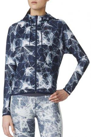 Ветровка Gym Fz Hoodyaop adidas. Цвет: синий