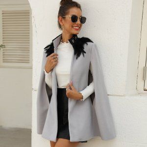 Твидовое пальто-кейп с перьями SHEIN. Цвет: серый
