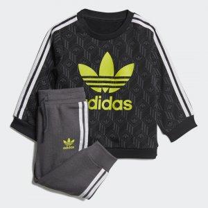 Комплект: джемпер и брюки Crew Originals adidas. Цвет: черный